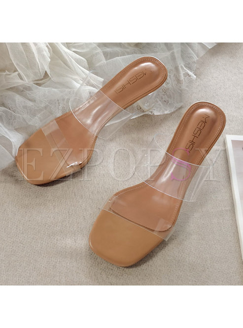 Square Toe Transparent Chunky Heel Slippers