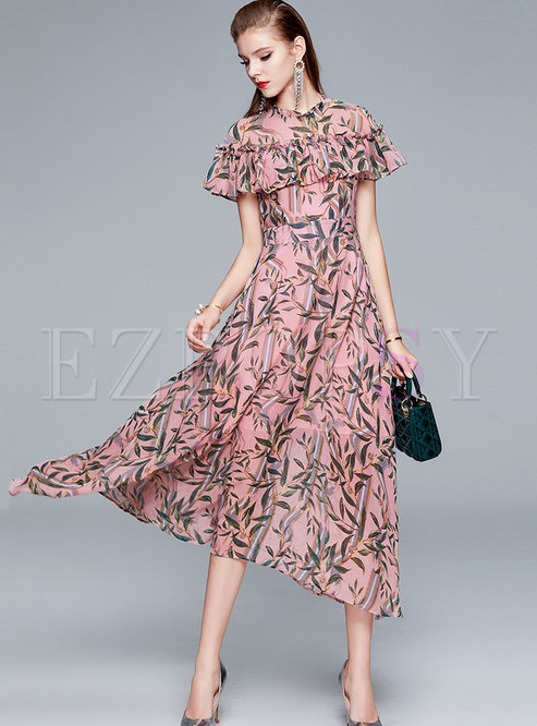 Ruffle Neck Print Big Hem Chiffon Maxi Dress