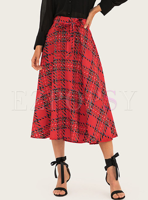 Bowknot High Waisted Plaid A Line Long Skirt