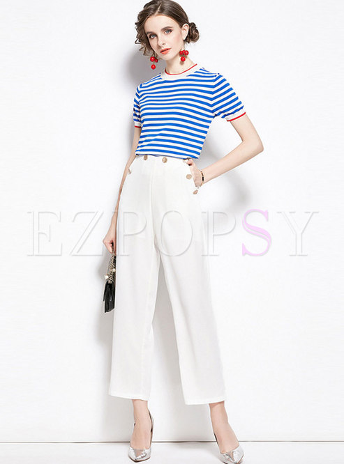 Color Block Striped Pullover Slim Pant Suits