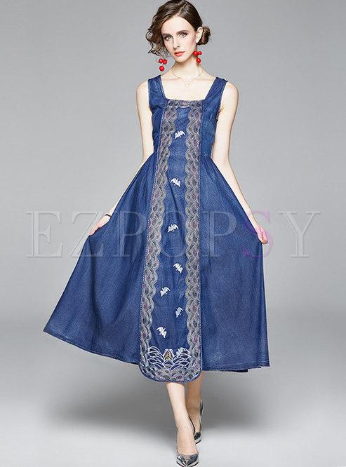Square Neck Sleeveless Embroidered Denim Maxi Dress
