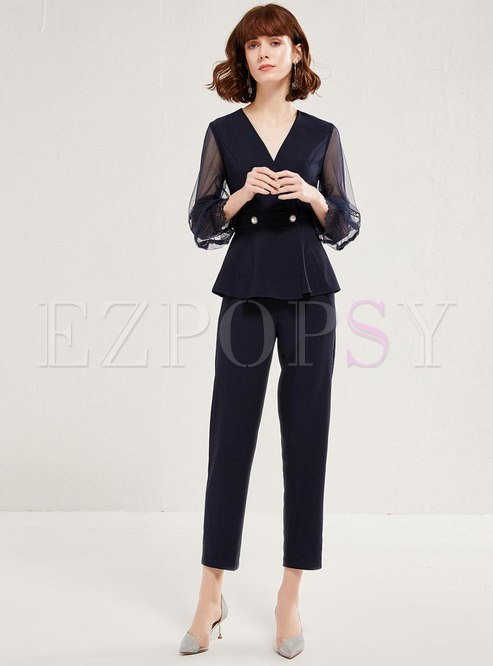 V-neck Mesh Sleeve Ruffle Slim Pant Suits