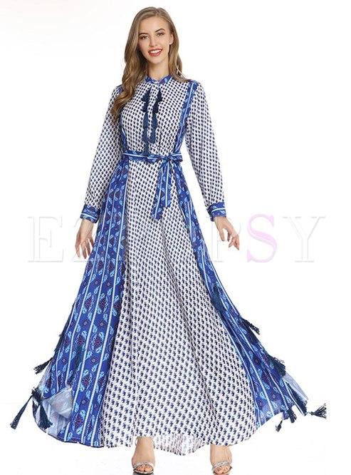 Long Sleeve Floral Fringed Big Hem Maxi Dress