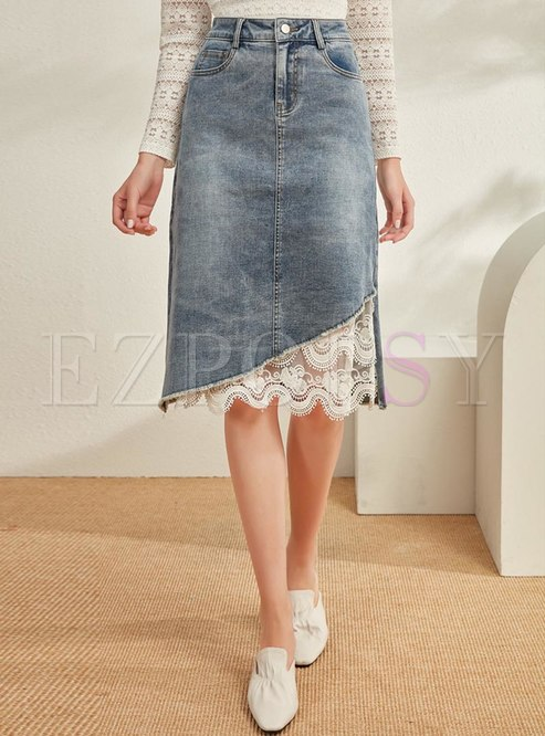Casual Lace Patchwork Denim Straight Skirt