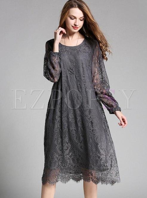 Plus Size Openwork Lace Shift Dress