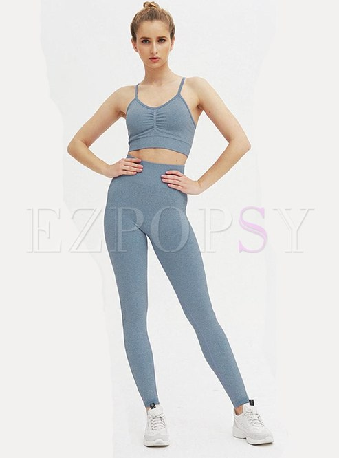 Scoop Neck Tight High Waisted Sports Yoga Tracksuit