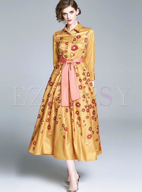 Print Long Sleeve Big Hem Formal Dress