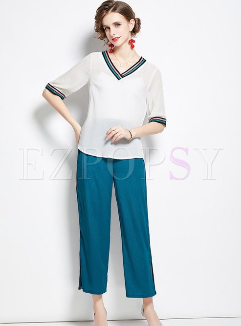 V-neck Pullover Chiffon Blouse & High Waisted Pants