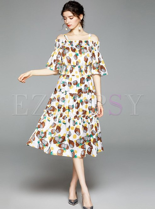 Off Shoulder Print Ruffle Sleeve Midi Dress