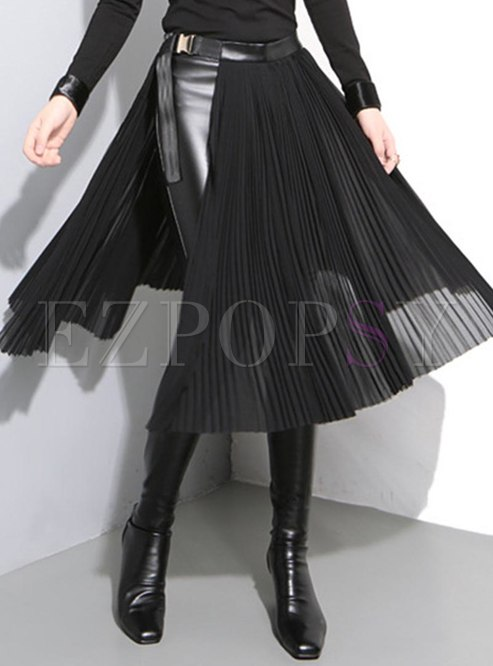High Waisted Metal Buckle Chiffon Skirt