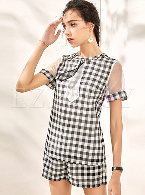 Mesh Patchwork Plaid T-shirt & Loose Casual Shorts