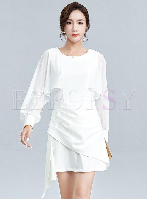 Lantern Sleeve Ruffle Patchwork Mini Dress