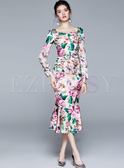 Square Neck Print Bodycon Peplum Dress