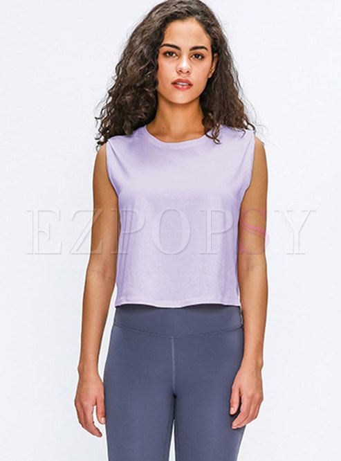 Sleeveless Pullover Elastic Breathable Yoga Tops