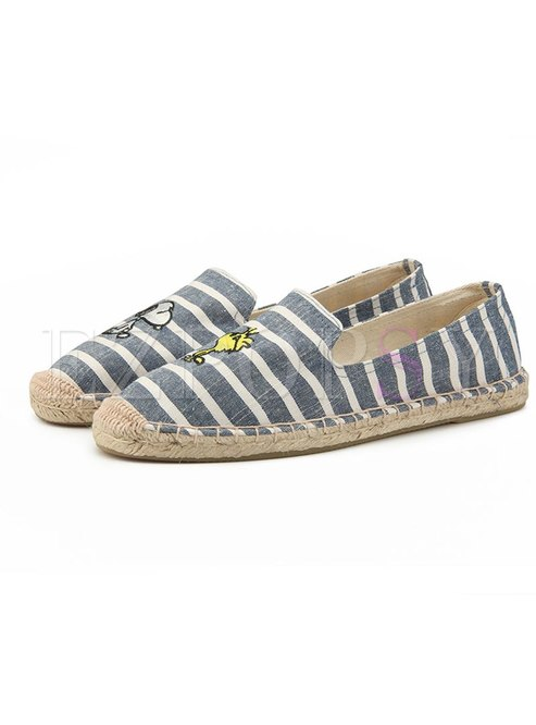 Animal Embroidered Striped Flat Espadrilles