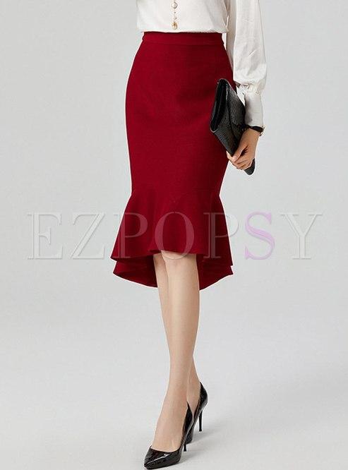 High Waisted Sheath Peplum Skirt
