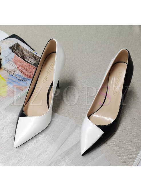 Color-blocked Pointed Toe Low-fronted Pumps