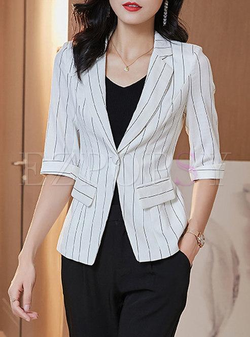 Notched Half Sleeve Striped Slim Blazer