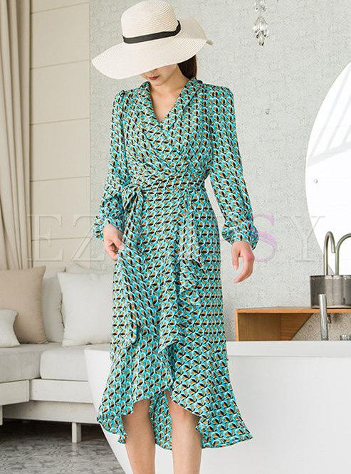 Long Sleeve Print Asymmetric Bodycon Dress