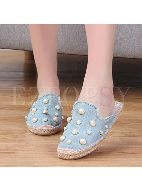 Rounded Toe Beaded Fringed Flat Slippers