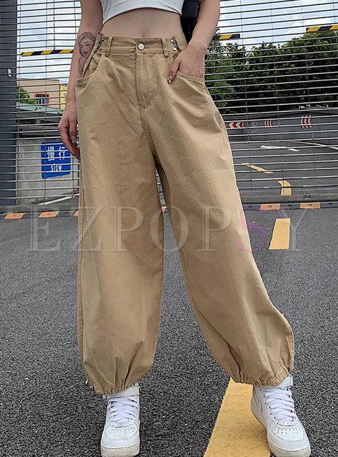Casual Khaki Drawstring Cargo Pants