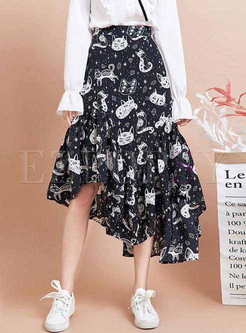 High Waisted Cartoon Print A Line Skirt