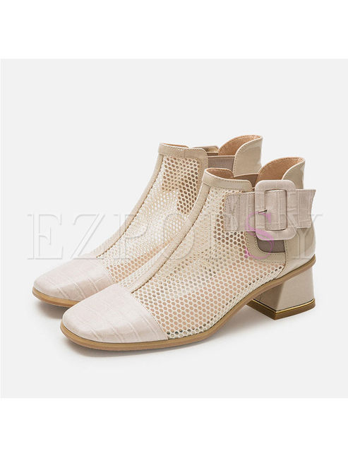 Square Toe Chunky Heel Openwork Ankle Boots