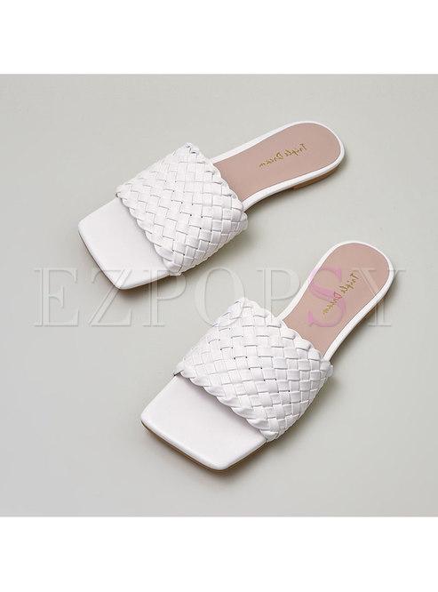Weave Square Toe Flat Slippers