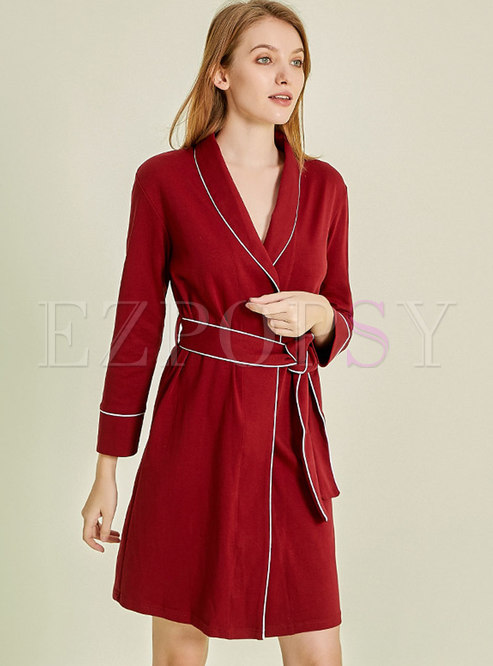Color Block Tie Waist Robe
