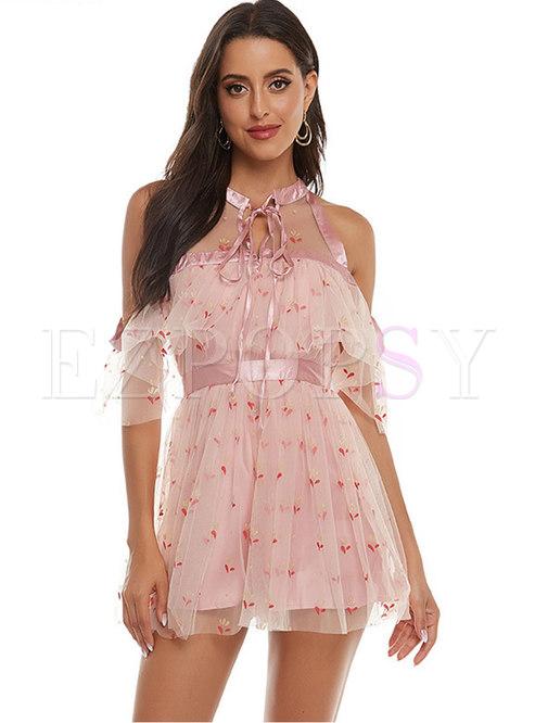 Cold Shoulder Mesh Lace Skater Mini Dress