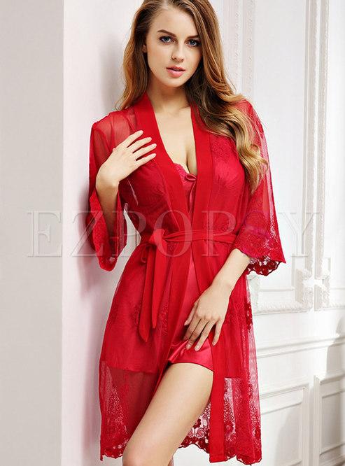 Transparent V-neck Short Nightgown Robe Set