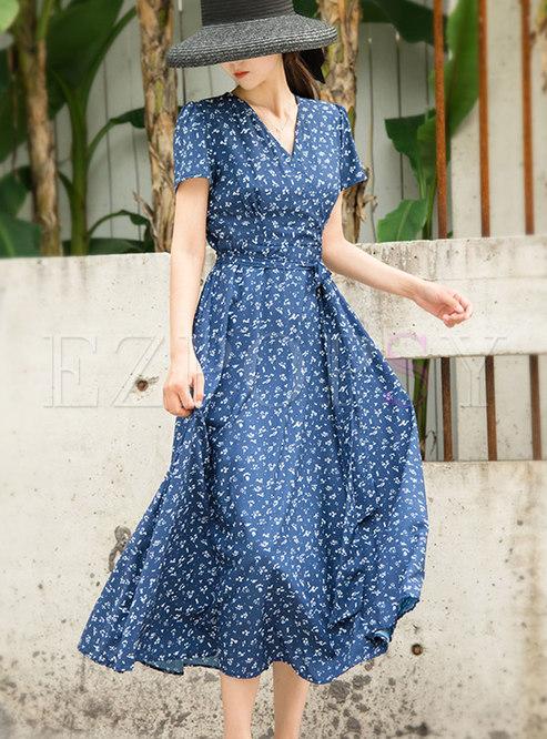 Bohemian V-neck Print Chiffon Beach Maxi Dress