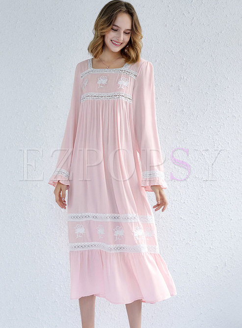 Ruffle Lantern Sleeve Midi Nightgowns