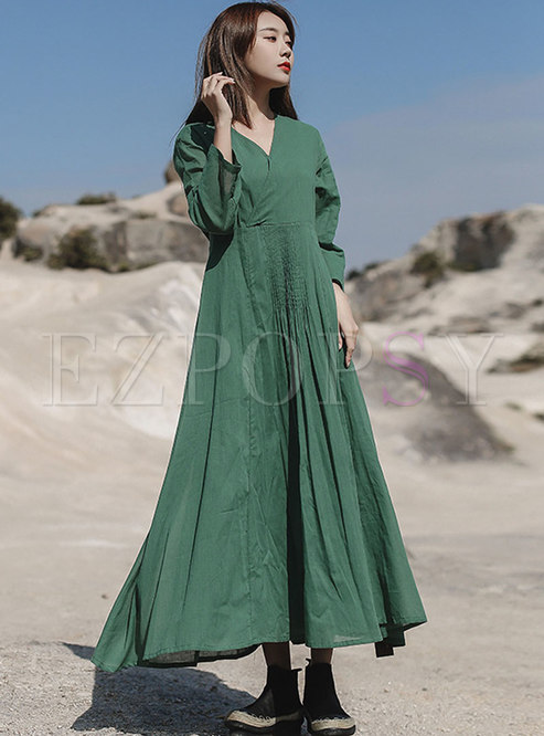 Solid Color Tie Waist Maxi Dress