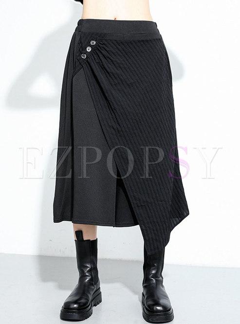 Elastic Waist Irregular Wide Leg Pants