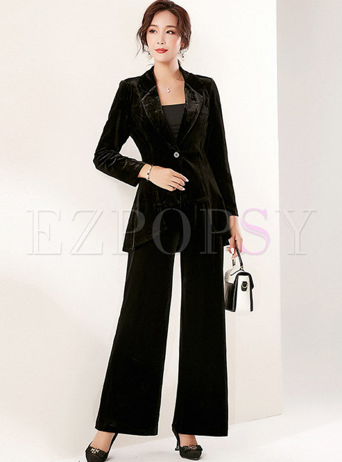 Black Notched Long Sleeve Wide Leg Pant Suits
