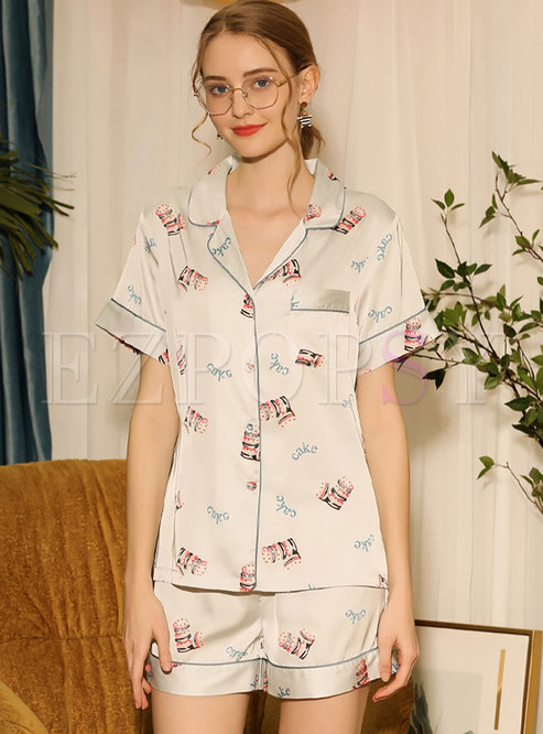 Satin Button Down Shorts Pajama Set