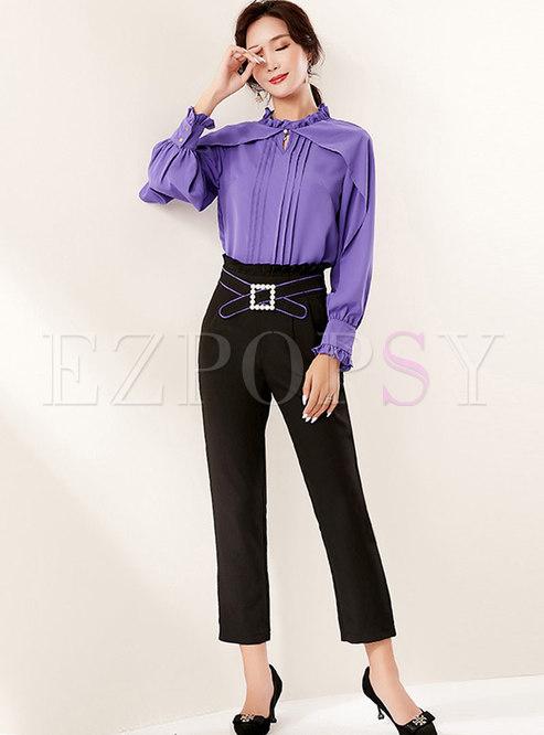Pullover Loose Chiffon Blouse & Slim Pencil Pants