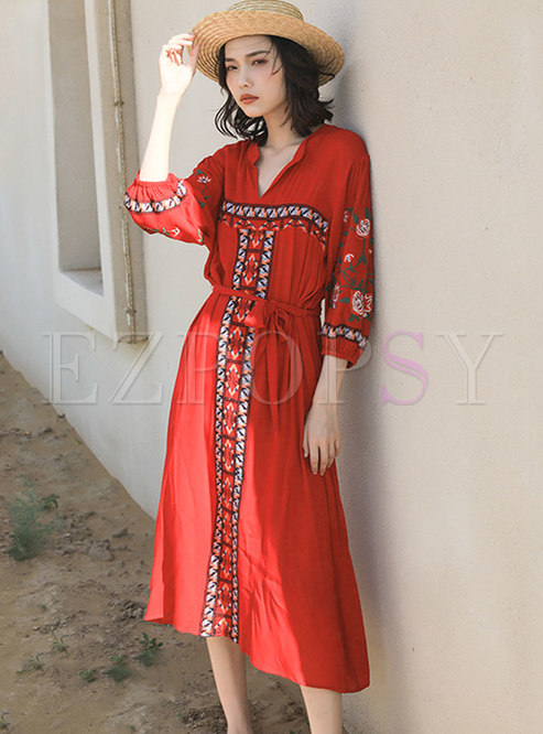 Bohemian Red Embroidered Beach Midi Dress