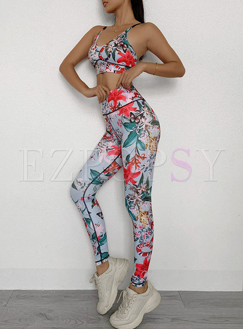 Scoop Neck Print Tight Breathable Tracksuit