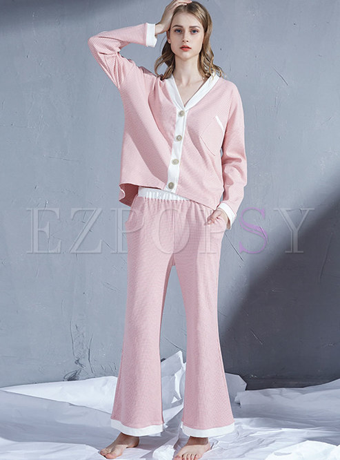 V-neck Color-blocked Striped Flare Pant Suits