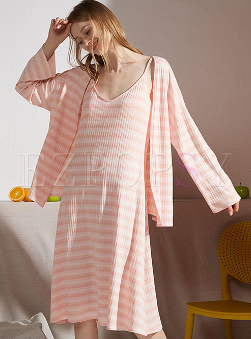 V-neck Striped Knee-length Nightgown Set