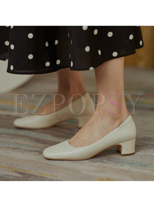 Chunky Heel Low-fronted Square Toe Shoes