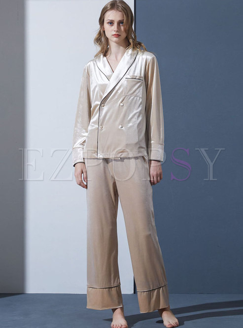 Lapel Double-breasted Velvet Loose Pajama Set