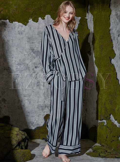 V-neck Striped Wide Leg Pajama Set