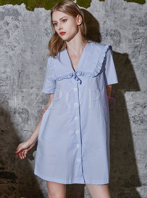Blue Sweet Single-breasted Shift Mini Nightdress