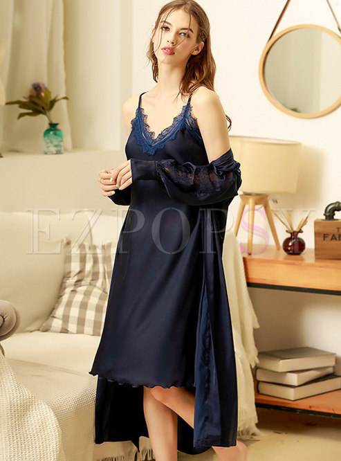 V-neck Lace Mesh Solid Color Robe Set