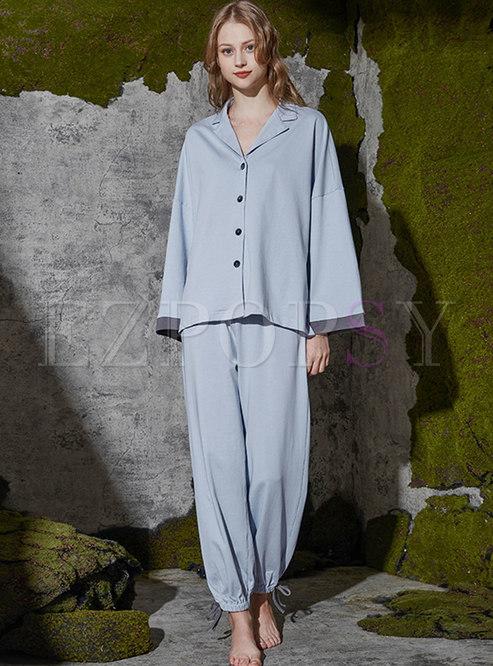 Lapel Single-breasted Wide Leg Pajama Set