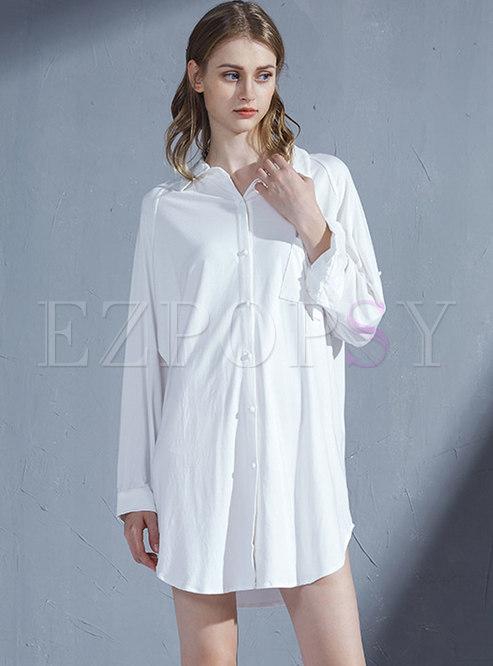 Plus Size Loose Single-breasted Sleep Shirt Dress