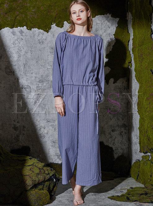 Plaid Pullover Loose Drawstring Pajama Set